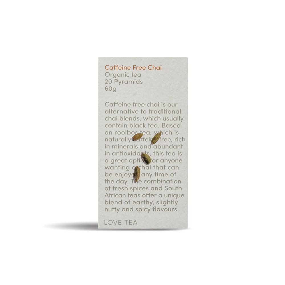 caffeine free chai pyramid tea bags  organic tea  love tea